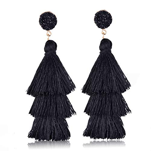 Colorful Layered Tassel Earrings Bohemian Dangle Drop Tiered Tassel Long Stud Earrings Gifts For Women Girls (Black)