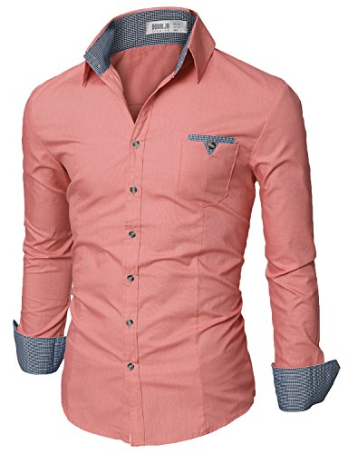 (Doublju Mens Slim Fit Cotton Flannel Tailored Shirt, Pink X-Large)