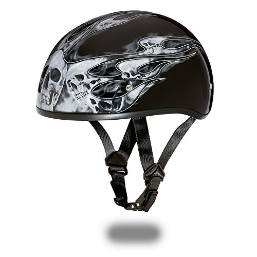 DOT Motorcycle Half Helmet With Skull Flames Silver (Size 2XL, XX-Large) (Helmet Flame Silver Half)