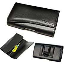 Galaxy S7 edge/NOTE 5/NOTE 4/S6 edge+/J7/On5~OVERSIZE Premium Leather Pouch Holster Belt Loops Carrying Case(fits Phone+Speck CandyShell Grip / Mophie Juice Pack Air / Plus Cover Case On)