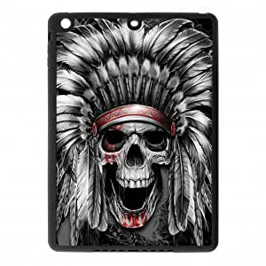 IPad Air Case,Aztec Tribal Indians Chief Skull High Definition Pattern Cover With Hign Quality Rubber Plastic Protection Case