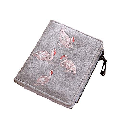 Embroidery Zipper Grey Holder Purse Flamingo Scrub Kukoo Leather Women's Card Wallet Coin Mini wx0q61YFUC