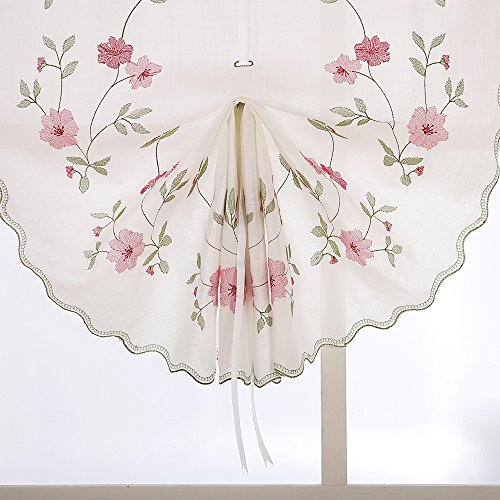 ZHH 1 Panel Polyester Handmade Crochet Flowers Pastoral Style Rustic Tie-Up Balloon Curtain 25-Inch By 57-Inch,Pink by ZHH (Image #6)
