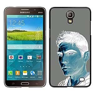 "For Samsung Galaxy Mega 2 Case , Hombre Azul Blanco Gris Pintura Retrato"" - Diseño Patrón Teléfono Caso Cubierta Case Bumper Duro Protección Case Cover Funda"