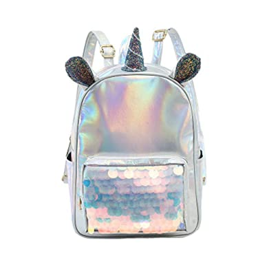 Mini Mochila De Mujer Con Unicornio De Cuero Artificial Lentejuelas Reversible Backpack Colorido De Moda De
