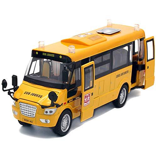 CORPER TOYS イエロー ラージ 合金 プルバック スクールバス おもちゃ 9インチ ダイカストカー プレイバス 音とライト付き 子供用