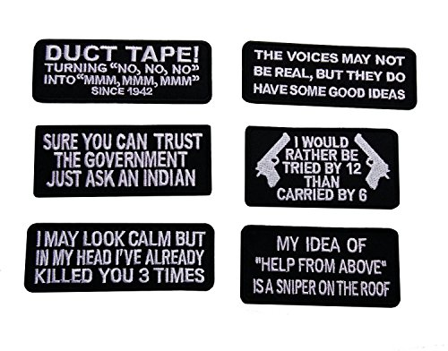 [I May Look Calm Funny Biker Vest Patch Motorcyle Perfect Patches Funny Saying Embroidered Biker [Set of 6]] (Halloween Us Dont Metal With Evil)