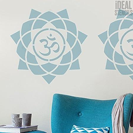 semi transparent Schablone L// 37X37CM Wiederverwendbar Startseite-Wand-Dekor Wandfarbe Stoffe /& M/öbel Om Mandala Symbol Schablone Kunst /& Handwerk Schablone
