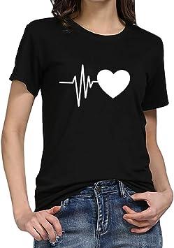 Camisetas Mujer Tallas Grandes, MINXINWY Camiseta de Manga Corta de Mujer Casual Joker Top Blusas Estampado de Corazones Camiseta Suelta Tops Patrón ...