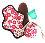 SckoonCup Beginner Choice - Extra Protection - Leak Proof Organic Cotton Reusable Menstrual Pad - Made in The USA Menstrual Cup Harmony Set Size 1 Small