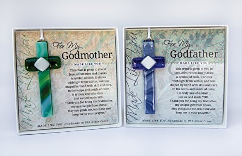 (Grandparents Gifts Handmade Cross Gift Set for Grandparents Godmother Gifts Baptized in Christ Great Gifts for Godparents Handmade in USA )