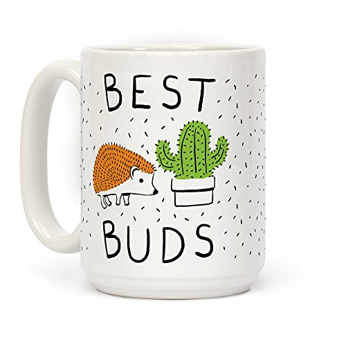 LookHUMAN Best Buds Hedgehog Cactus White 15 Ounce Ceramic Coffee Mug