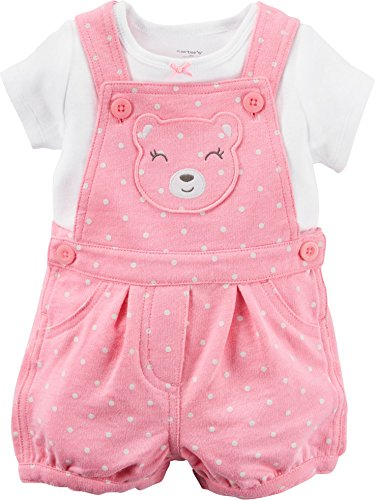 Carter's Girl 2-Piece White Tee & Pink Polka Dot Bear Shortalls Set (3 (Carters Shortall)