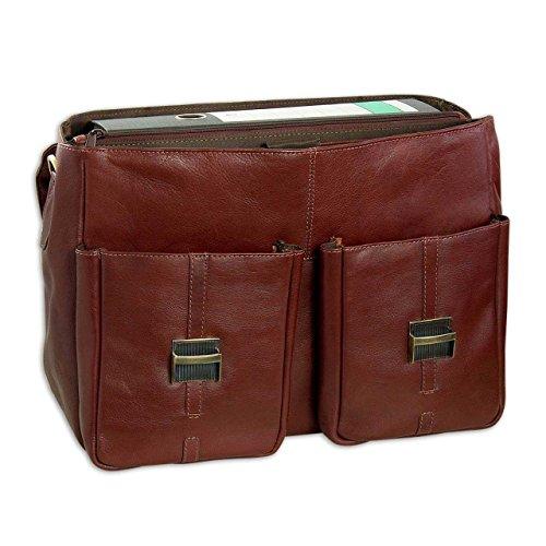 STILORD Bolso de mano grande / Bolso de piel vintage Borsa / para notebooks 15.6' cuero auténtico de búfalo marrone/cognac Marrón