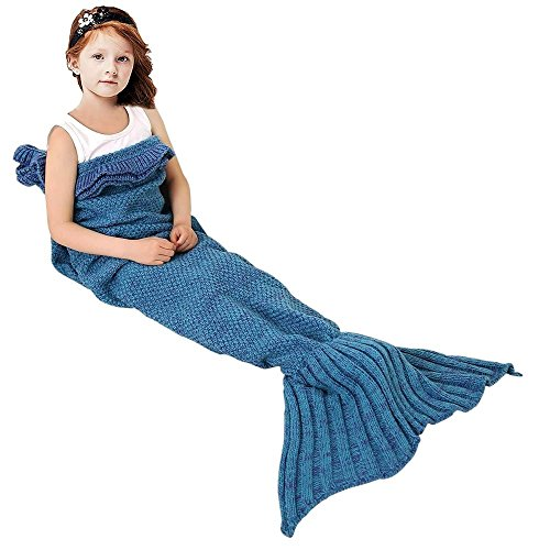 Gifts for kids amazon mermaid tails blanket for kids all seasons lace crochet mermaid blanket soft sofa sleeping bag best easter gifts for girls 55x275 inch blue negle Image collections