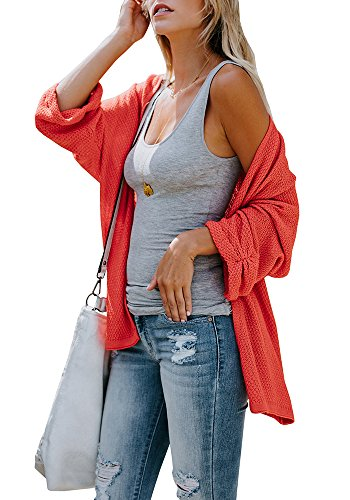 Huiyuzhi Womens Cardigan Sweaters Oversized Lightweight Loose Pleated Cuffs Long Casual Open Front Knit Sweater Drape Coats - Long Open Cardigan