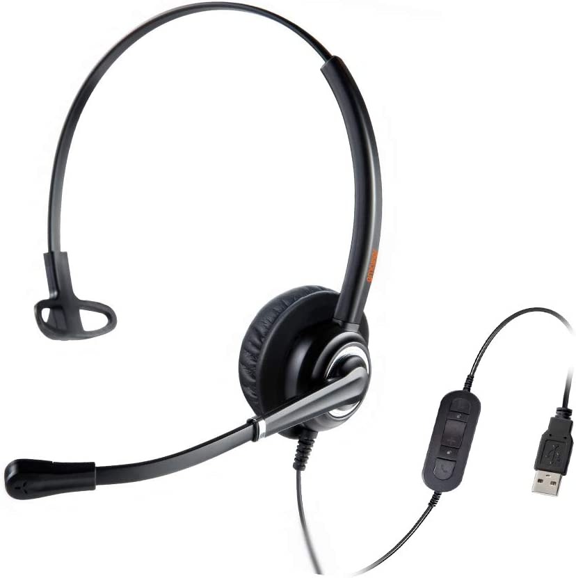 Emaiker USB Headset with Noise Cancelling Microphone Mic Mute Volume Call Control for Dragon Voice Recognition Speech Dictation Lightweight PC Headphone for Call Center Office Skype Chat Zoom Calls