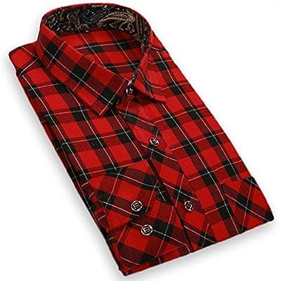 ALSTORE Men's Long Sleeve Flannel Plaid Dress Shirt Western Button Down Shirts