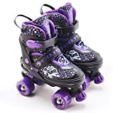 Kids Adjustable 4 Wheel Purple Quad Roller Skates Boots Childrens Rollers Medium UK Shoe Size 2 - 4