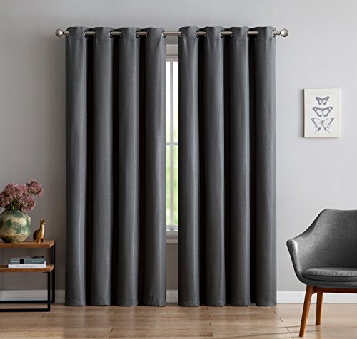 Maya – Premium Textured Thermal Weaved Heavy Duty Blackout Curtain By Linen Source – Energy Efficient – Noise Reduction – Blocks 99.98 of Light & UV Rays (54 x 96, Charcoal)