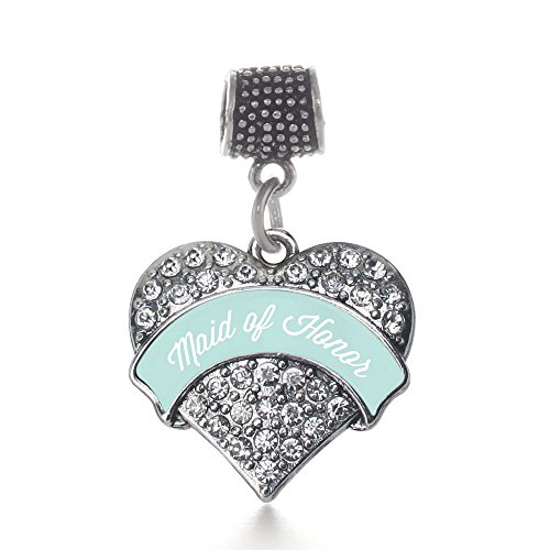 Inspired Silver Mint Maid of Honor Pave Heart Memory Charm Fits Pandora Bracelets & Compatible with Most Major Brands such as Chamilia, Murano, Troll, Biagi and other European (Maid Of Honor Charm)