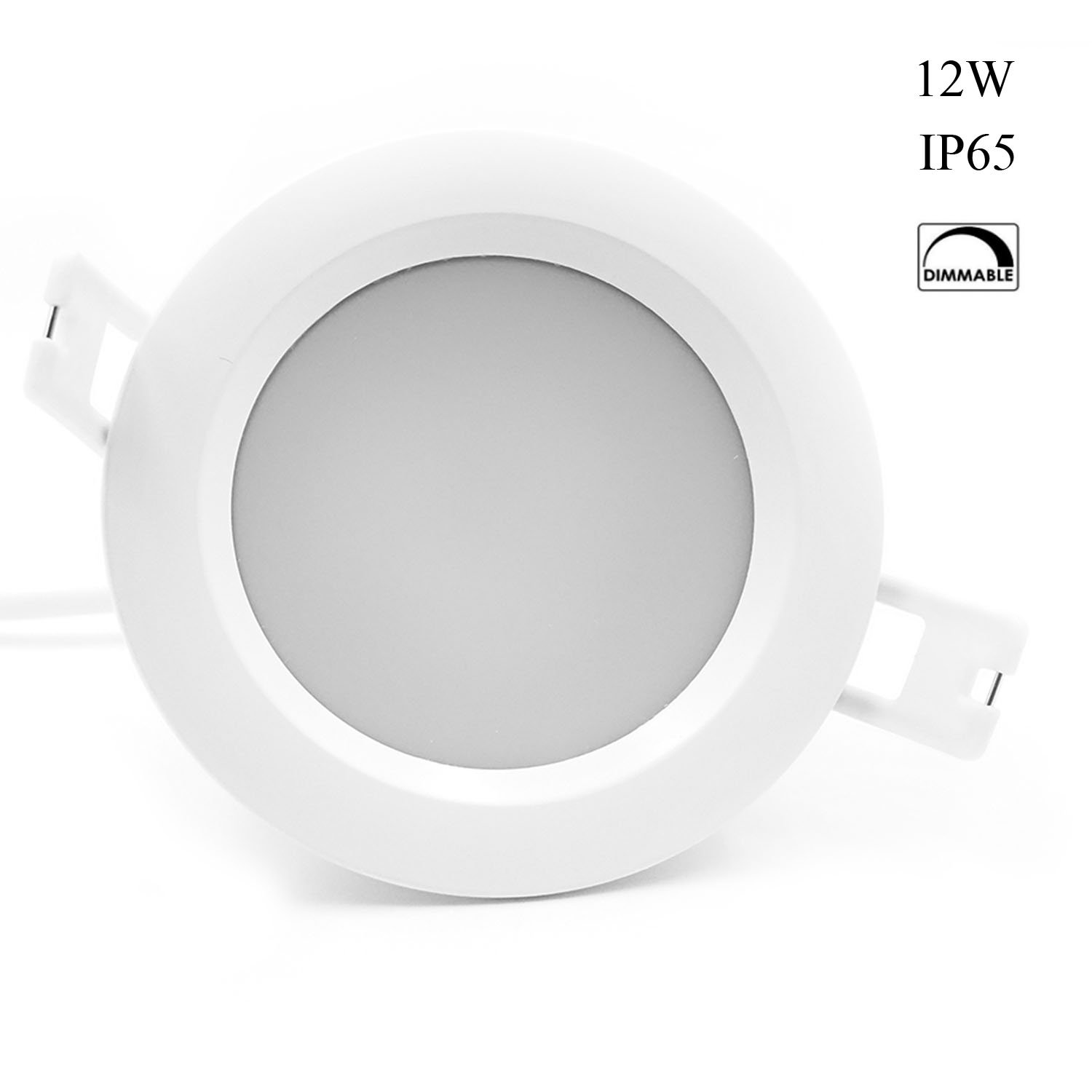 Snople Waterproof LED Ceiling Light IP65 Dimmable LED Downlight 4500K Natural White,12W,92mm Cutout,LED Recessed light for Bathroom