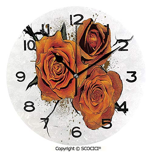(SCOCICI Round Wall Clock Three Roses Flowers Victorian Style Garden in Autumn Ornamental Decorative Artwork 10 inch Morden Acrylic Mirror Wall Clocks Silent Round Decorative Clock)