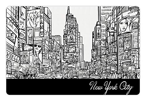 Lunarable New York Pet Mat for Food and Water, Times Square with Traffic Jam and Sketch Adverts Hand Drawn Urban City, Non-Slip Rubber Mat for Dogs and Cats, 18
