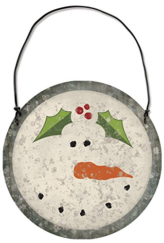 Primitives By Kathy Snowman 3.13 Inches Diameter Metal Tin Hanging Ornament Decor -