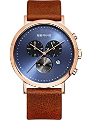 Bering Men's Classic Chronograph Brown Leather Watch 10540-467
