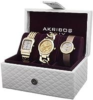 Akribos XXIV Women's AK688YG Diamond Accented Gold-Tone 3 Watch Box Set from Akribos XXIV