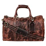 Onlinemaniya Men's Vintage Leather Travel Bag One Size Brown