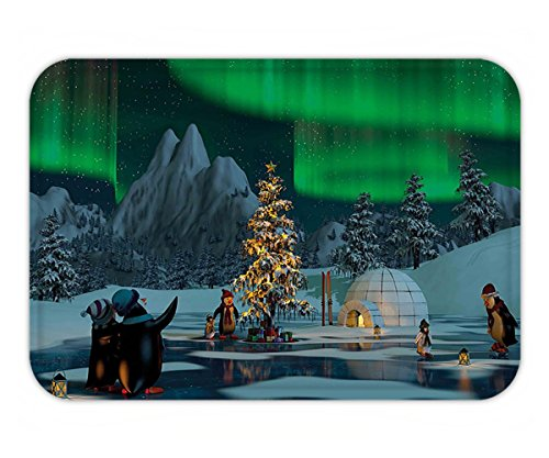 Minicoso Doormat Northern Lights Penguins on Frozen Lake with Christmas Tree Noel Arctic Circle Design Lime Green Grey (Frontgate Christmas Doormats)