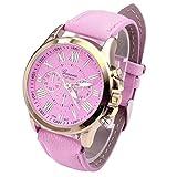 Hemlock Fashional Round Roman Numerals Women's Watch Pink PU Leather Band Gold Watches