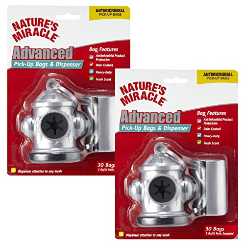 Nature's Miracle Advanced Pick-up Bags and Fire Hydrant Dispenser (2 Pack, SILVER) (Advanced Bag Pickup)