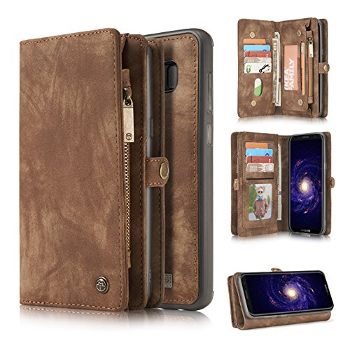 Galaxy Note 8 Case,HIPICB Galaxy Note 8 Handmade Retro Zipper Leather Wallet Case Purse Clutch with Detachable Magnetic Hard Cover and Large Capacity Card Slots for Samsung Galaxy Note 8 - Brown