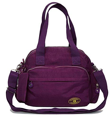 Womens Nylon Lightweight Zip Pockets Gfm Bag Dark Multi 601ghjmn Body Shoulder Cross Messenger S2 Purple wqgpdXEIxX
