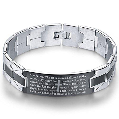 Men's Vintage Stainless Steel Black Cross Silver English Bible Lords Prayer Religious Link Wrist Bracelet (Cross Middle, Black Silver, 7.9 inch)