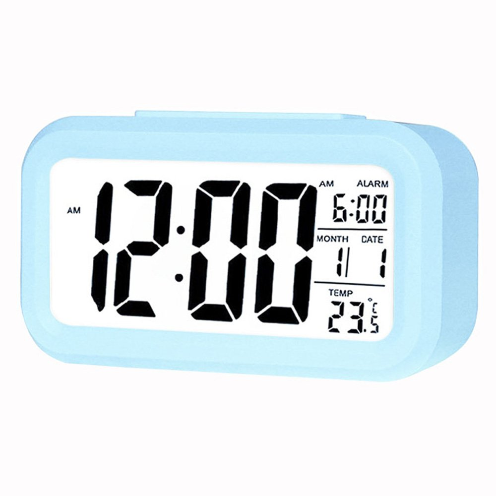 Coolzon LCD Night Light Electronic Smart Digital Alarm Clock Date Temperature Display Repeating Snooze, Light Blue