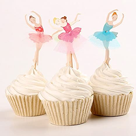 Cake Toppers Decorations for Fairy Flower Theme Party Girls Birthday Party Wedding iMagitek 48 Pack Pretty Fairy Flower Cupcake Topper Picks