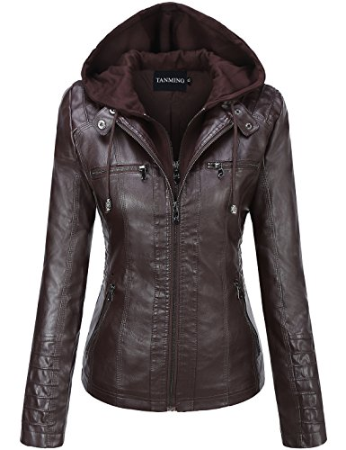 - Tanming Women's Hooded Faux Leather Jackets (XX-Large, Dark Coffee)