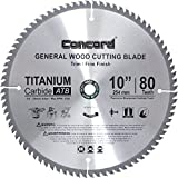Concord Blades WCB1000T080HP 10-Inch 80 Teeth TCT General Purpose Hard and Soft Wood Saw Blade