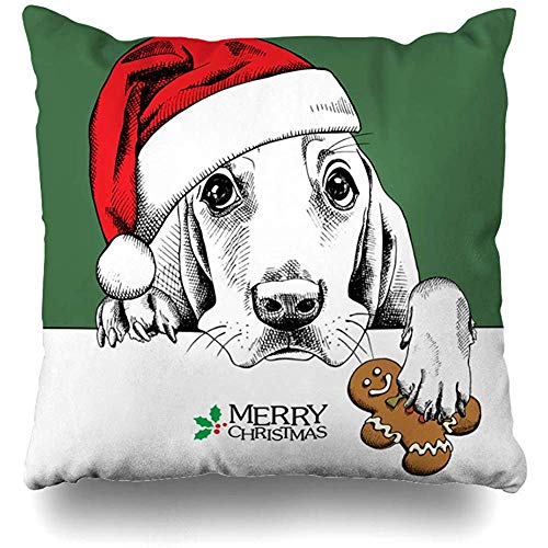 Throw Pillows Covers Cushion Case Puppy Christmas Dog Basset Hound in Red Santa Food 39 Hat Gingerbread On Green Wildlife Design Sketch Home Decor Pillowcase Square 18 x 18 Inches