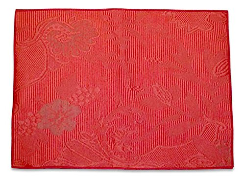 "Unique & Custom {13'' x 18'' Inch} Single Pack of Rectangle ""Non-Slip Grip Texture"" Large Table Placemat Made of Washable Flexible Cotton & Polyester w/ Rustic Antique Floral Embossed Design [Red Color] by mySimple Products"