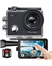 AKASO V50 X Action Camera, Native 4K Wifi Underwater 40M EIS Anti-Shake Cam with Touch Screen, Remote Control, Waterproof Case and Mounting Accessories Kit