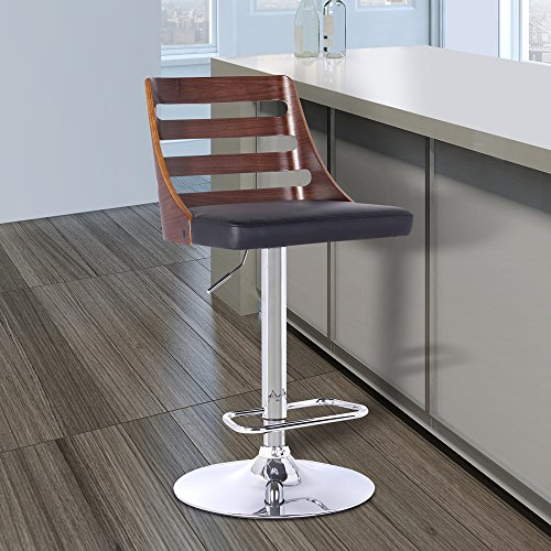 Armen Living LCSTBAWABL Storm Barstool in Black Faux Leather and Brushed Stainless Steel Finish