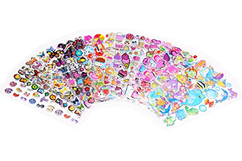 600+ Kids Puffy Sticker Mega Variety Pack,20 Different Sheets of 3D Puffy Stickers, Including Cute Fish and Animals,Butterflies,Love,Letters, Numbers,Cakes