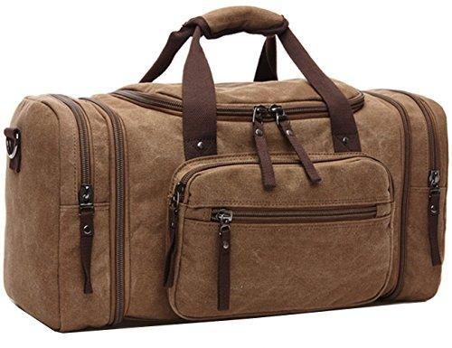 Aidonger Unisex Canvas Großräumige Handtasche Schultertasche Reisetasche (Kaffee)