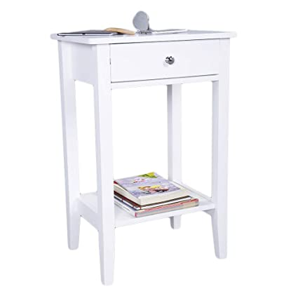 Amazon Com Night Stands End Table Bedroom Furniture Bedside Shelf Nightstand Bookcase Drawer Organizer Dresser Bedside Table For Bedroom Set Two Layer White Kitchen Dining