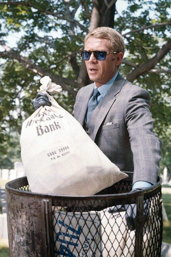 b58e7e7b21 The Thomas Crown Affair Steve McQueen 24X36 Poster in grey suit   Persol  sunglasses at Amazon s Entertainment Collectibles Store